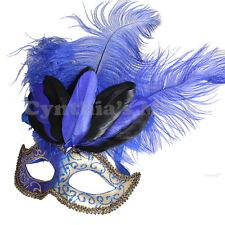 Royal Blue Venetian Mask w/ Ostrich Feather 6E3A Masquerade Ball Decor Dancing