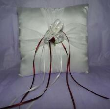 Ring Bearer Pillow Wedding Party Ivory Satin & Dark Red