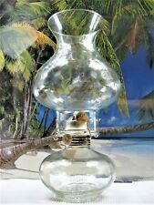KEROSENE OIL LAMP MADE IN MEXCO CLEAR GLASS COUNTER CLOCKWISE BURNER AND CHIMNEY