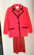 1970s Vivid Tomato Red/Black Houndstooth Knit Pant Skirt Suit / Statement Piece