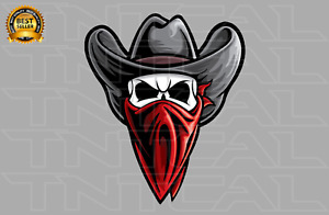 Outlaw Cowboy Skull Western Bandit Wild West Decal - Car Truck Window Sticker