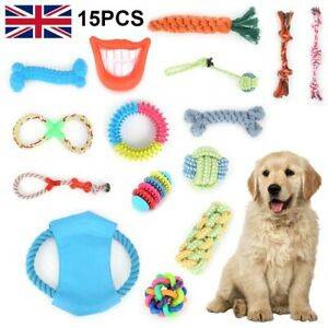 15X Tough Dog Toys Bundle Chew Rope Knot Ball Squeakers Pet Puppy Teething UK