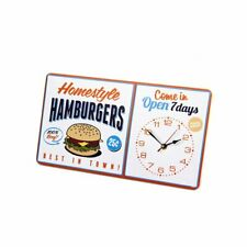 Wanduhr Diner Küchenuhr Burger Retro 50s Rockabilly Vintage Metall Hamburger NEU