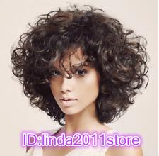 Women short Curly Dark Brown ladies Cosplay Hair Full wig+Free Wig cap