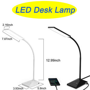 12W LED Desk Lamp 7 Levels Adjustable Night Light USB Port Touch Table Lamp