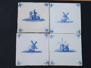 4x Delft Blue Tiles Landscape around 1700