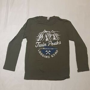 TWIN PEAKS LOGGING CAMP Long-Sleeve Green T shirt Loot Crate NEW