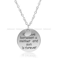 Love Heart Mother Son Charm Pendant Chain Necklace Silver Mum Mother's Day Gift