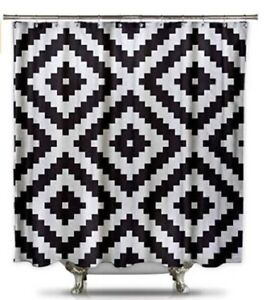Black and White Diamond Grid Pixel Shower Curtain