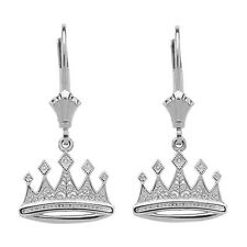 14K White Gold Filigree Royal Crown Drop/Dangle Leverback Earrings