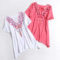 Women within keyhole Floral Plus Size Top Tee Short sleeve Tie String Embellish