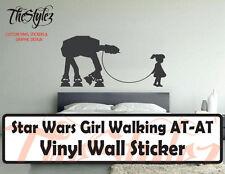 Star Wars Girl Walking AT-AT Oversize Wall Vinyl Sticker