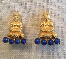 DeLILLO gold tone & lapis lazuli~BUDDHA~clip earrings~VINTAGE~MINT~SIGNED~T11