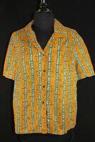 PLUS SIZE FRENCH VINTAGE 1950'S MUSTARD COTTON PRINT BLOUSE 44 INCH BUST