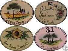 Numero civico 19x13 targa ceramica insegna mattonella ovale CON DISEGNO