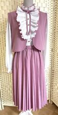 Vintage Pink White Pleated Ruffle neck Long Sleeve Dress w/ Belt & Bolero Dolly