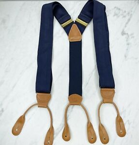 Multicolor Vintage Navy Blue Leather Button Tab Suspenders Braces Made in USA