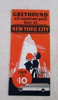 NYC Greyhound All Expense Paid Tour Flyer, 4-Section, EX Vintage 1920s/1930s