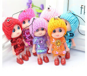 2x Baby Doll w/Knit Hat Charm Phone Car Bag Key Ring keyrings Paillette Dress^lk