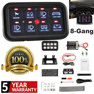 AUXBEAM 8 Gang On-Off LED Blue Control Switch Panel with Mount Bracket Universal