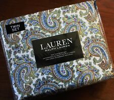 Ralph Lauren ~ TWIN 3Pc Sheet Set ~ Elegant Floral Paisley Blue Red Yellow ~NEW