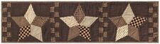 """Hand Quilted Patchwork Table Runner Farmhouse Star Black Tan Checks 48"""" Long"""