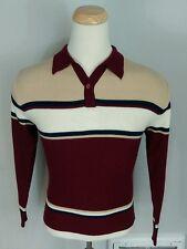 Vintage 60's Argyle Surf Stripe Polo Shirt Disco Mod Retro Mid Century M Acrylic