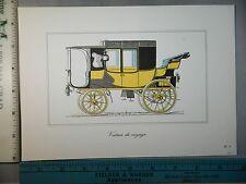 Rare Original VTG Voiture De Voyage Car Auto Color Antique Car Litho Art Print