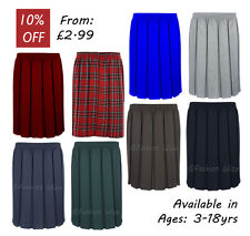 Ages 2-20 Girls School Skirt Box Pleated All round Elasticated Knee Length Grey