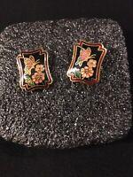 VINTAGE CLOISONNÉ FLOWER/BUTTERFLY & GOLD TONE PIERCED POST EARRINGS