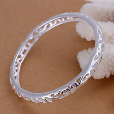 Classic  925 Sterling Silver Stamped Filigree Hollow Round Bangle  BN-A232