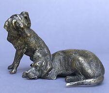 Jugendstil Hundefigur Pointer Paar Rüde Hündin Jagdhund Jäger Wiener Bronze~1915