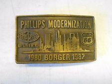 Vtg Phillips Modernization Brass Belt Buckle Borger, TX. Phillips 66. 1980-1982