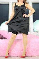 VTG Black Classic Scalloped Lace Super Soft Nylon Simple Full Slip Dress sz 36
