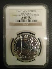 Britannia Mule Error w/ Lunar Horse Obverse 2014 1 oz Silver Coin - NGC MS69 PL