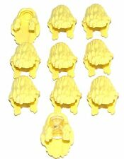 LEGO LOT OF 10 NEW BRIGHT YELLOW MINIFIGURE LONG WAVEY FEMALE HAIR WIG PARTS