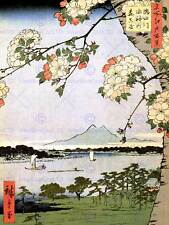JAPANESE WOODBLOCK CHERRY BLOSSOM SHIPS ON WATER NEW ART PRINT POSTER CC3450