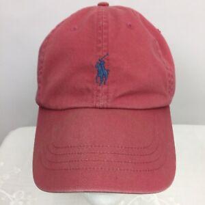 Polo Ralph Lauren Mens Hat Cap Pony Logo Pink Salmon Cotton One Size Adjust