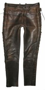 """Hein Gericke Classic Gear Lace-Up Leather Jeans/Pants Pants Braun Approx. W35 """""""