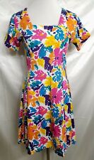 Vintage Flying Colors Retro Sweetly Lovely Bright Floral Dress Medium