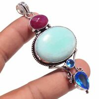 Amazonite,Ruby Ethnic Jewelry Handmade Pendant UP-3433