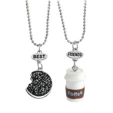 2 X Coffee Cup Cookie Best Friends Necklace Kids Resin Colorful Pendant Solid