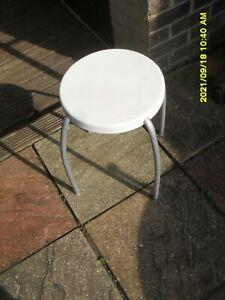 IKEA  METAL STOOL with white plastic  Seat. H47 seat 31 VGC