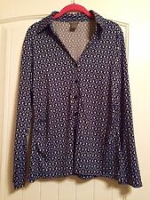 NWOT ANN TAYLOR SZ XL Blue Geometric Cotton w/Stretch Button Down Shirt