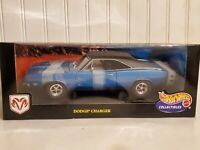 Hot Wheels 1969 Dodge Charger R/T 1:18 Scale Diecast '69 Model Car Blue