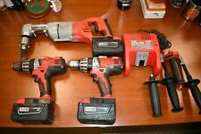 "Milwaukee M28 28v 1/2"" Right Angle Drill (2) Hammer Drills (3) Batteries Charger"