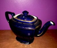 Vintage Hall Victorian Hollywood Teapot 6 Cup Cobalt Blue Gold 0108 Made in USA