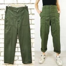 1970s OG-507 US Cotton Button Army Pants Utility Workwear Trousers Green
