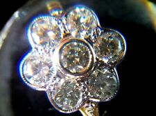 Art Deco Vintage 2.55ct Diamond Daisy Cluster 18ct Gold Ring Size N
