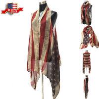 Womens Vest Shawl Scarf Kimono Poncho Beach Cover American USA Flag Top Cardigan